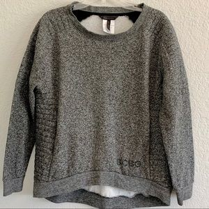 BCBG black moto sweatshirt high/low size L